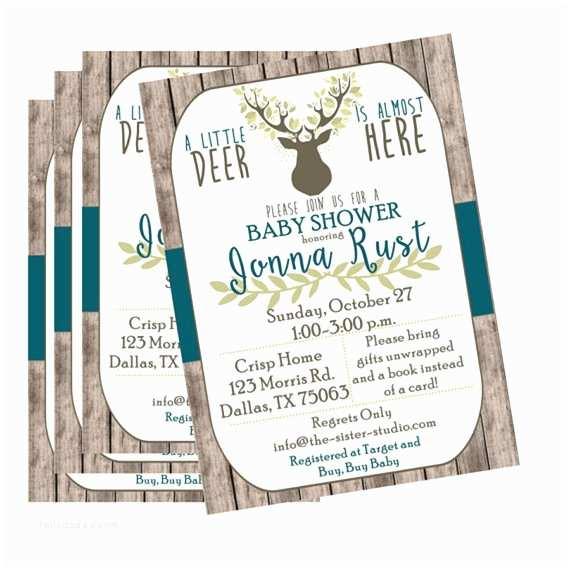 Deer Baby Shower Invitations Deer Baby Shower Invitation Oh Deer Rustic Baby Shower