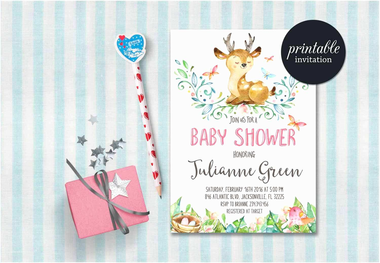 Deer Baby Shower Invitations Deer Baby Shower Invitation Printable Woodland Baby Shower