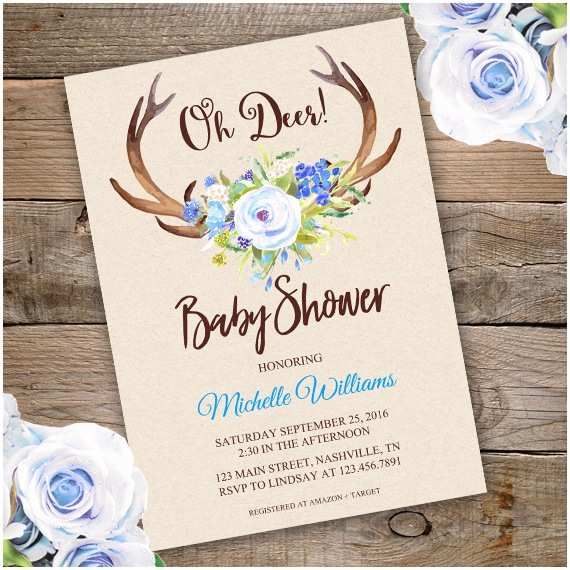 Deer Baby Shower Invitations Floral Bridal Shower Invitation Template Edit with Adobe