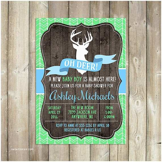 Deer Baby Shower Invitations Items Similar to Oh Deer Baby Shower Invitation Boy Baby