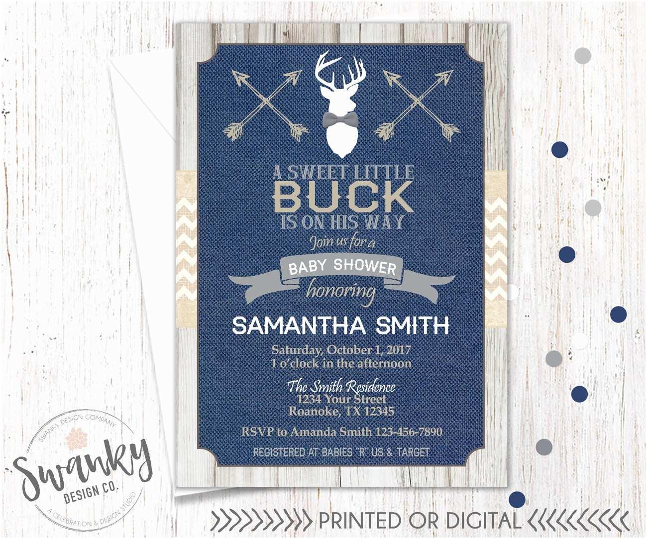 Deer Baby Shower Invitations Rustic Deer Baby Shower Invitations Navy and Burlap Baby