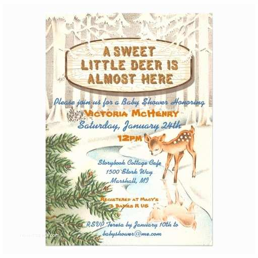 "Deer Baby Shower Invitations Vintage Baby Shower Winter Woodland Deer Invites 5"" X 7"