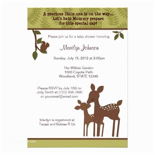 Deer Baby Shower Invitations Willow Deer Baby Shower Invitation forest Woodland