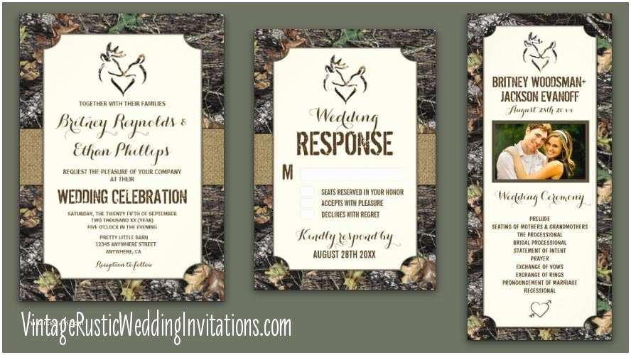 Deer Wedding Invitations Camo Wedding Invitations Vintage Rustic Wedding Invitations