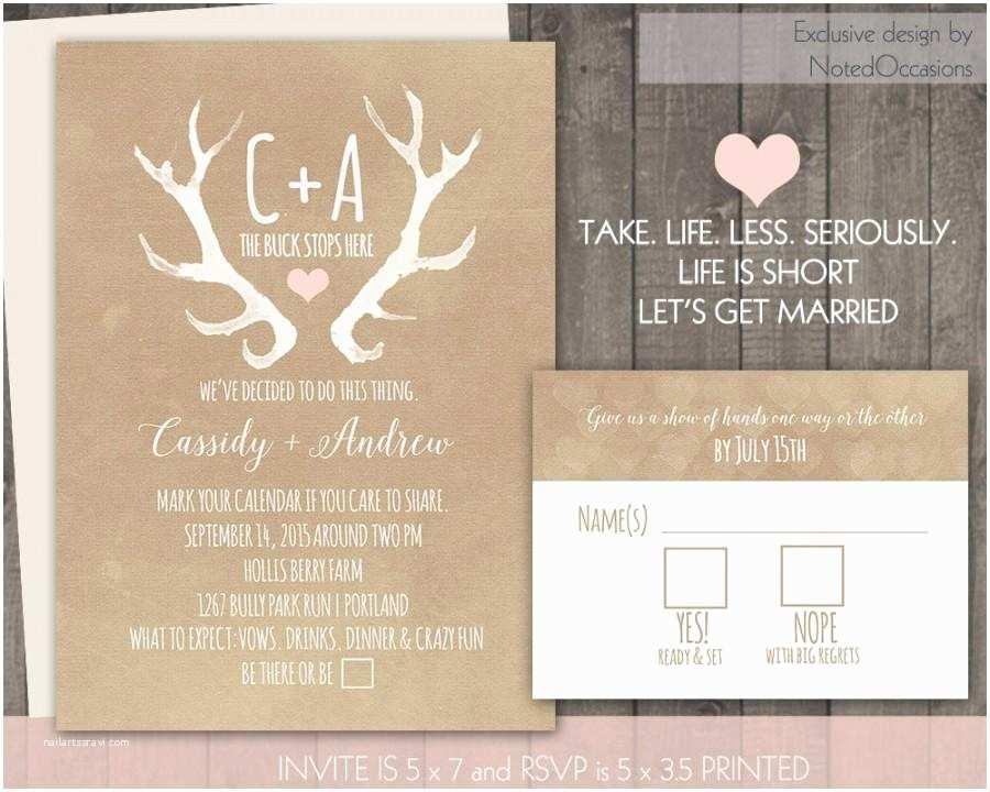 Deer Wedding Invitations Deer Antlers Rustic Wedding Invitation Set Casual