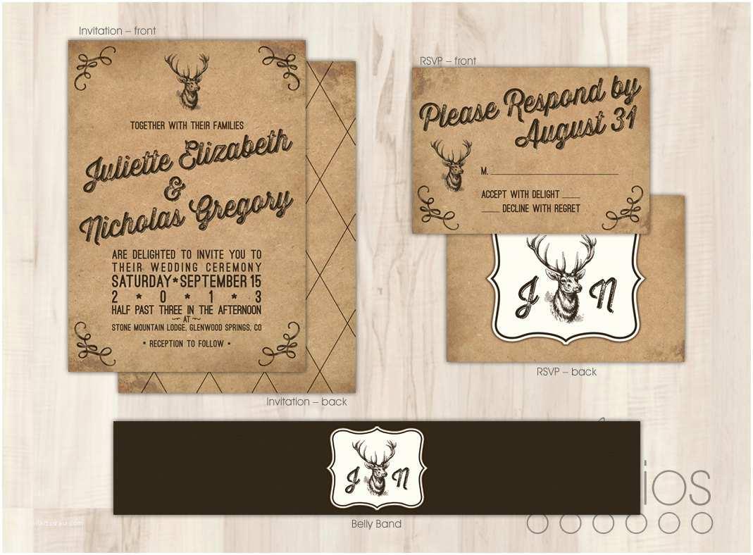 Deer Wedding Invitations Diy Rustic Deer Wedding Invitation Suite Custom