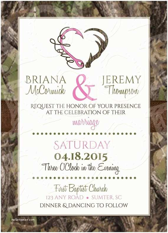 Deer Wedding Invitations Hooked Love Camo Wedding Invitation and Rsvp Card by