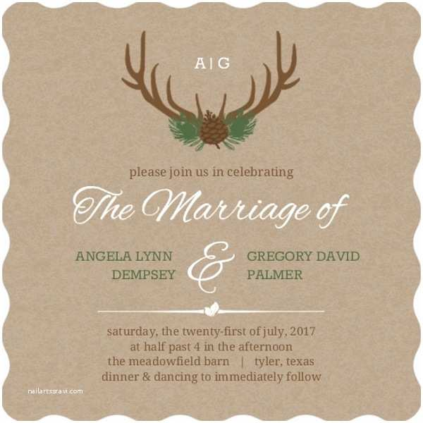 Deer Wedding Invitations Rustic Deer Antlers Wedding Invitation