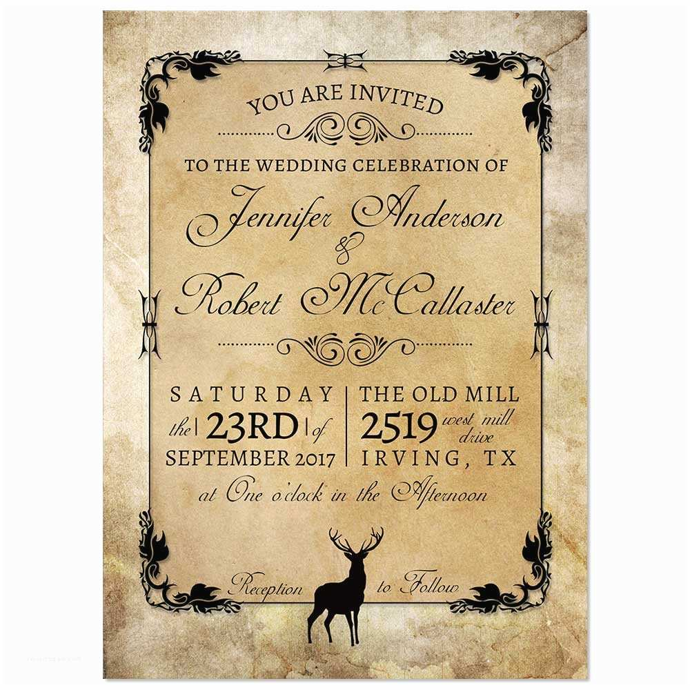 Deer Wedding Invitations Rustic Kraft Deer Wedding Invitation Odd Lot Paperie