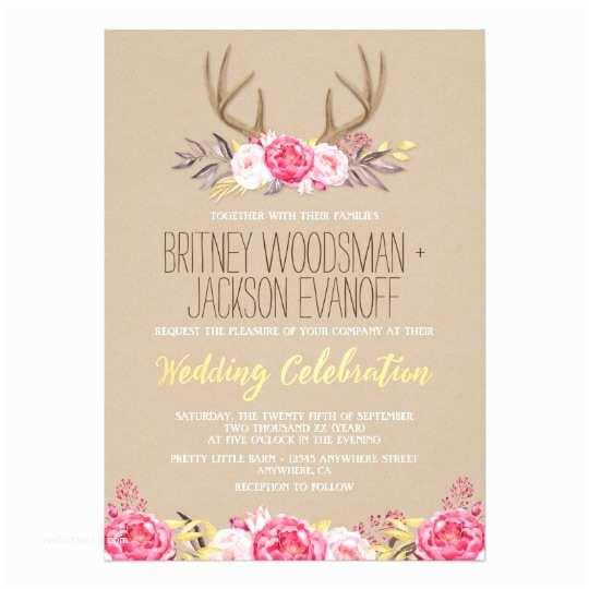 Deer Wedding Invitations Rustic Peony and Deer Antler Wedding Invitations