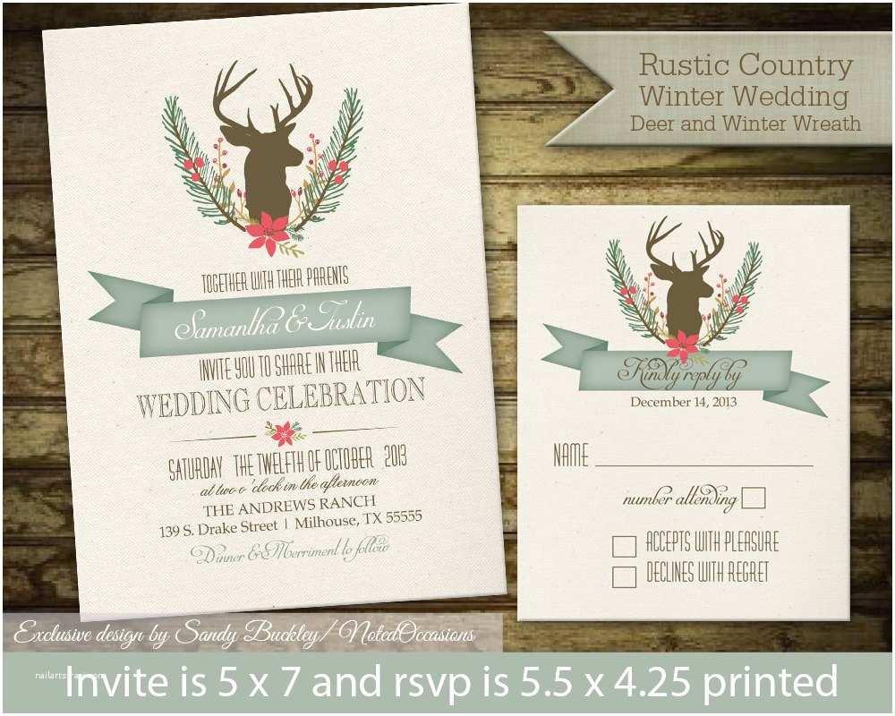 Deer Wedding Invitations Rustic Winter Wedding Invitations Deer Wedding by