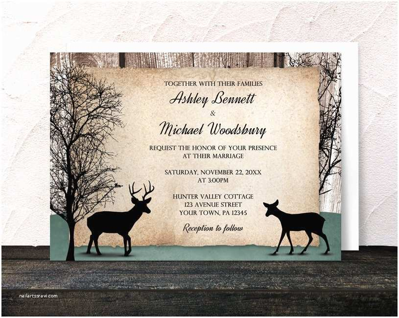 rustic woodsy deer wedding invitations