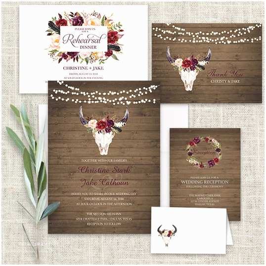 Deer Wedding Invitations Wedding Invitations Floral Deer Skull Antler Burgundy