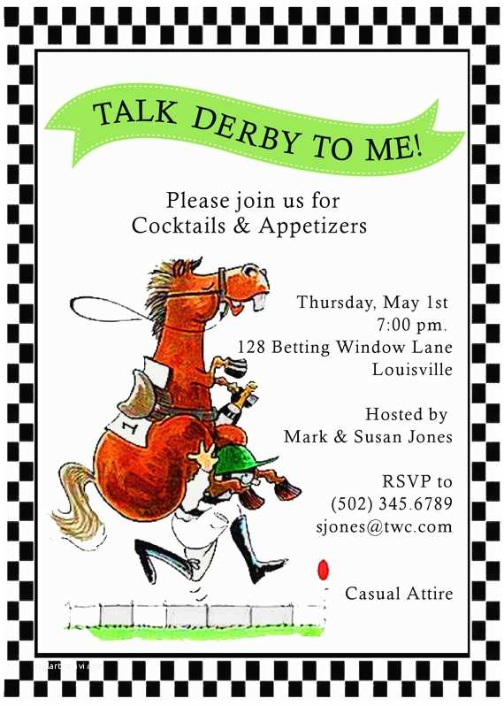 Derby Party Invitations Bowties Hats & Bourbon It S A Kentucky Derby Party