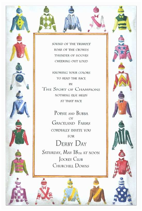 Derby Party Invitations Derby Clothing Invitation