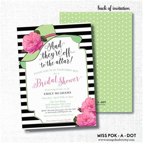 Derby Party Invitations Kentucky Derby Bridal Shower Invitation Hot Pink and