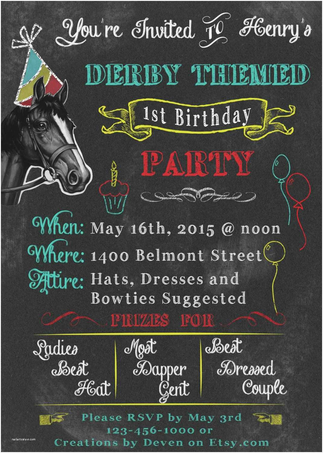 Derby Party Invitations Kentucky Derby themed Birthday Party Invitations Chalkboard