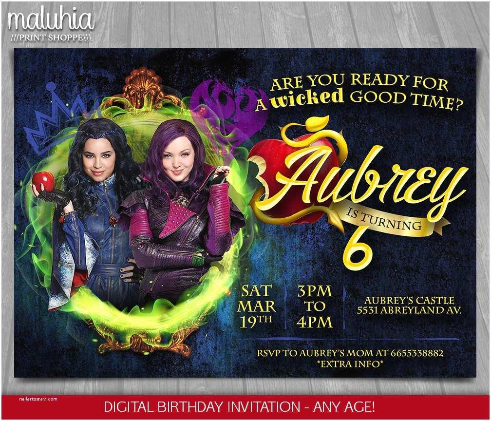 Descendants Birthday Party Invitations Descendants Invitation Disney Descendants Invite