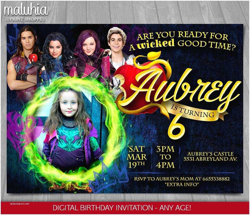 Descendants Birthday Party Invitations Invitation Disney Invite