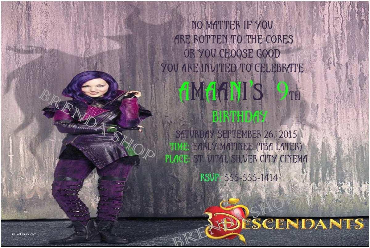 Descendants Birthday Party Invitations Disney Descendants Birthday Invitations Digital by