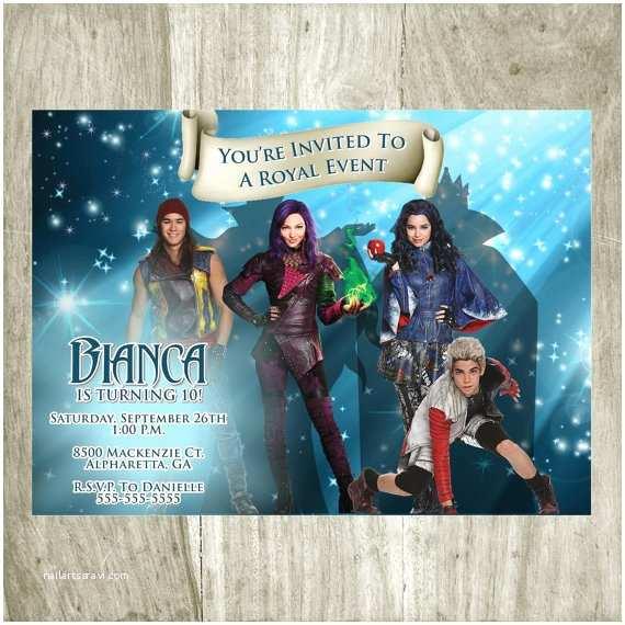 Descendants Birthday Party Invitations Disney Descendants Birthday Party Invitations and