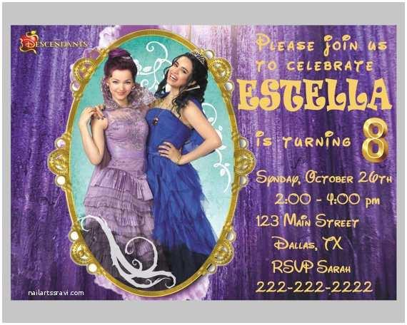 disney descendants birthday party invitations