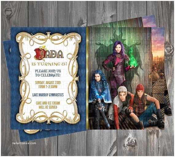 Descendants Birthday Party Invitations Disney Descendants Invitation