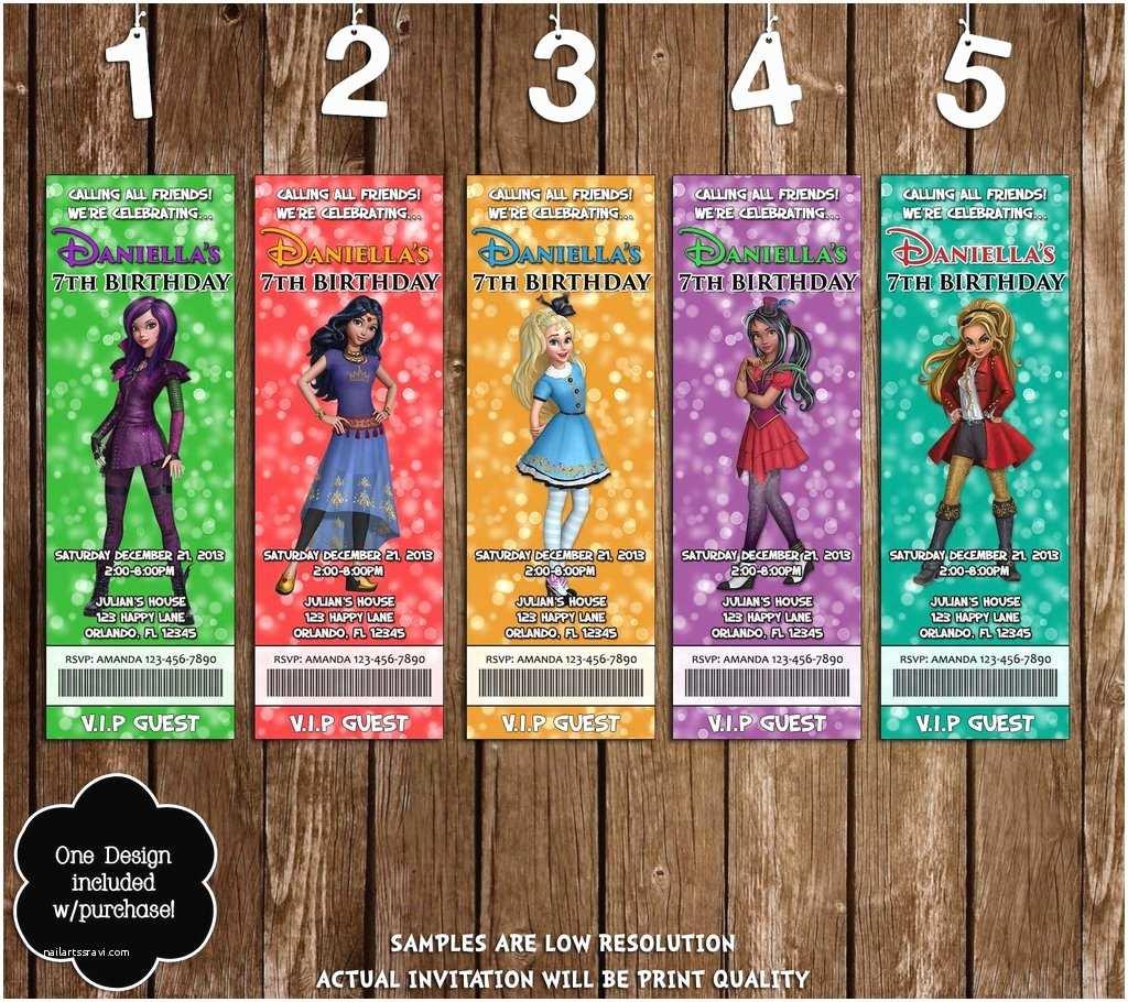 Descendants Birthday Party Invitations Novel Concept Designs Disney Descendants Wicked World