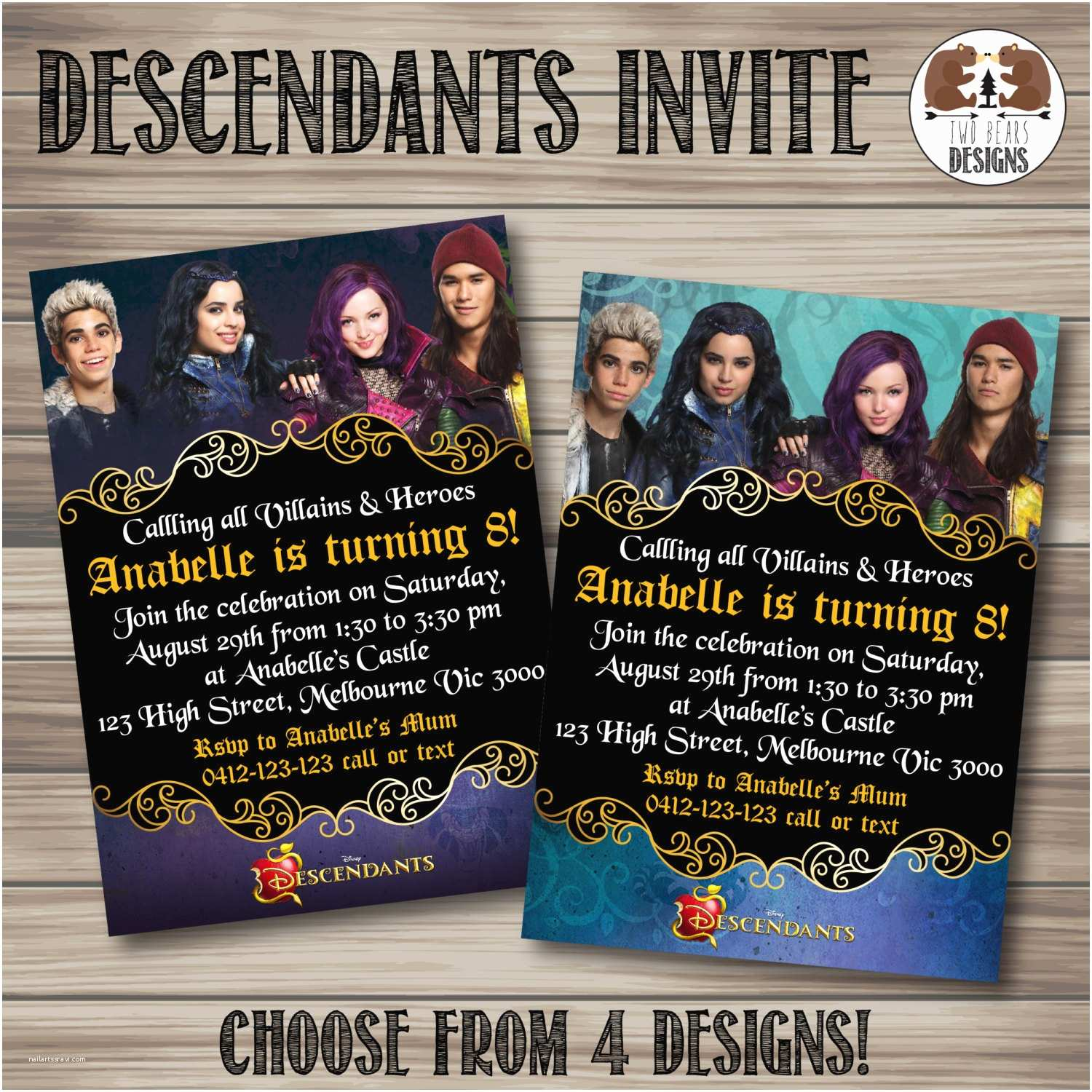 Descendants Birthday Party Invitations The Invitation Choose From 4 By Twobearsdesigns