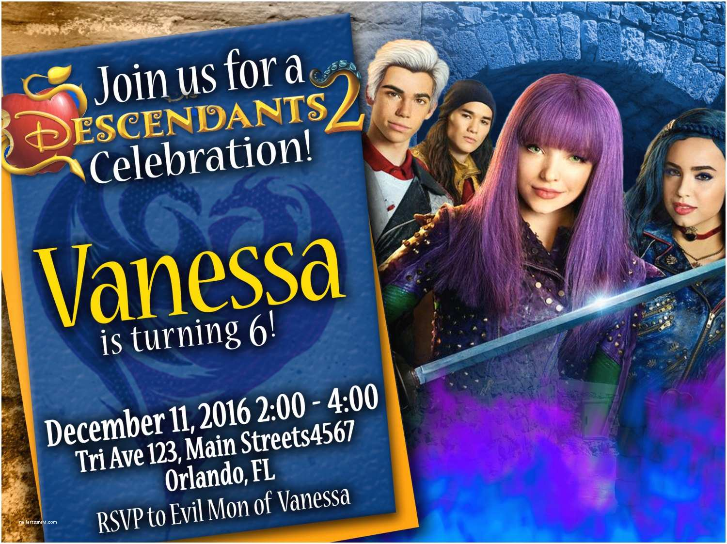 Descendants Party Invitations Birthday Invitation Disney 2 We Deliver Your