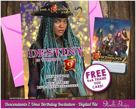 Descendants Party Invitations Descendants 2 Invitation for Birthday Party Uma