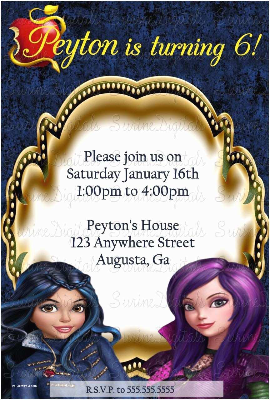 Descendants Party Invitations Descendants Evie and Mal Birthday Party Invitation Disney
