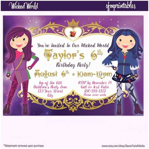 descendants inspired birthday invitation