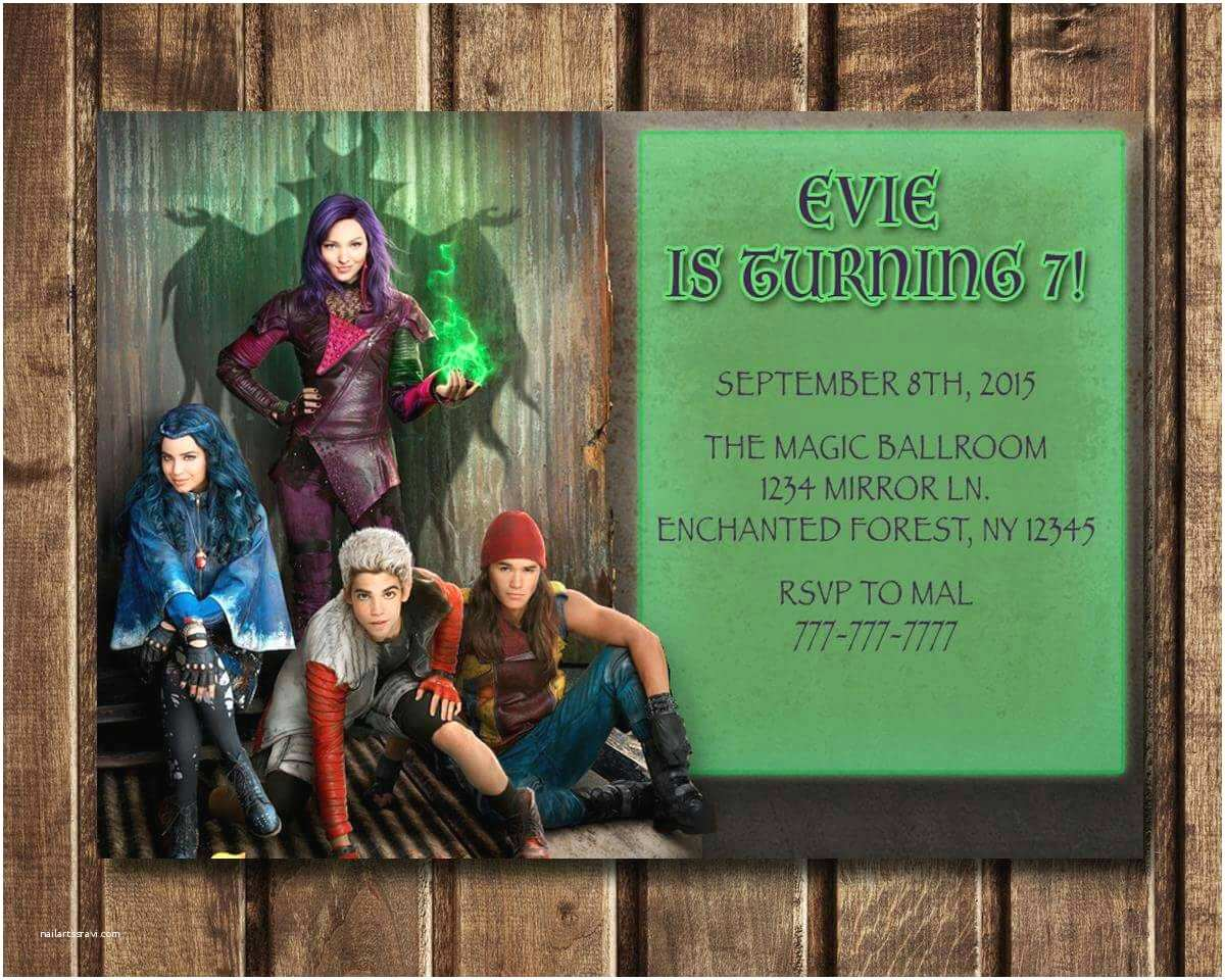 Descendants Party Invitations Digital Descendants Birthday Invitations by Digitallydreaming
