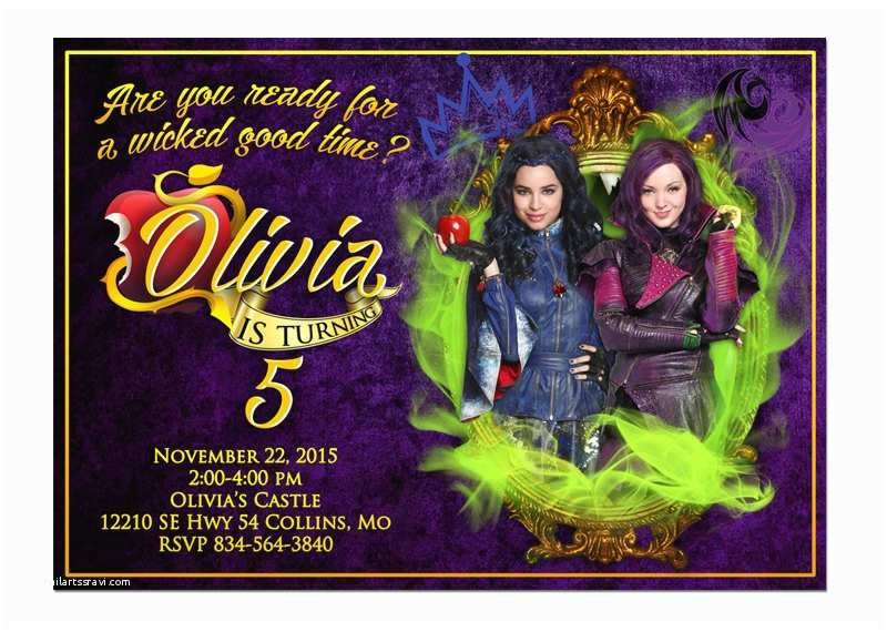 Descendants Party Invitations Disney Descendants Invitation Descendants Birthday by