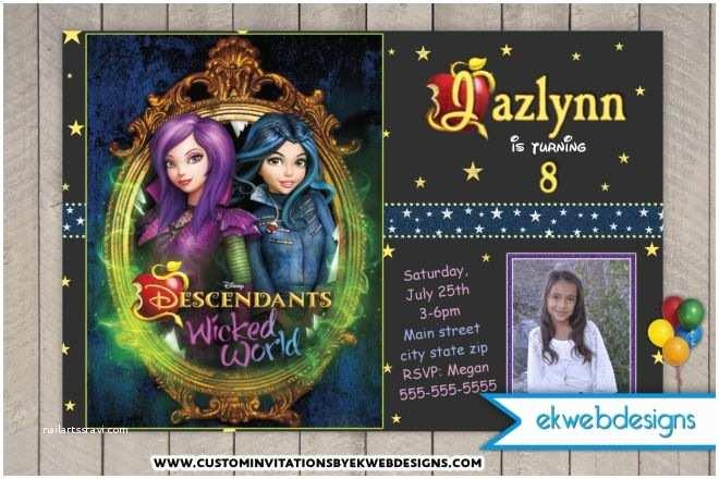 Descendants Party Invitations Disney S the Descendants Wicked World Custom Birthday
