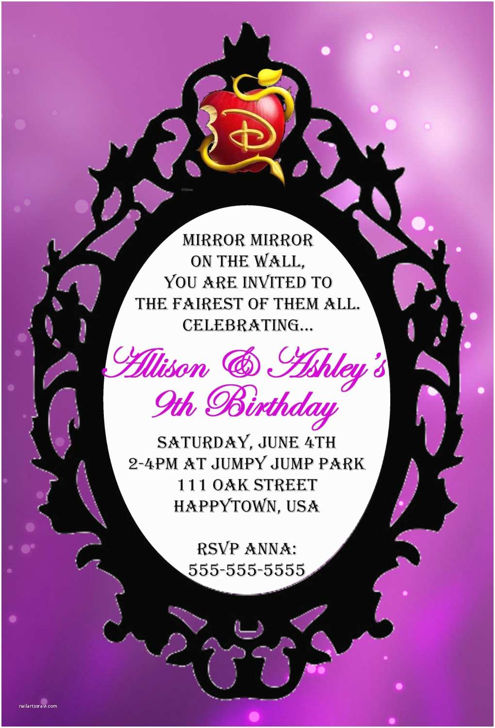 Descendants Party Invitations Personalized Descendants Mirror Invitation