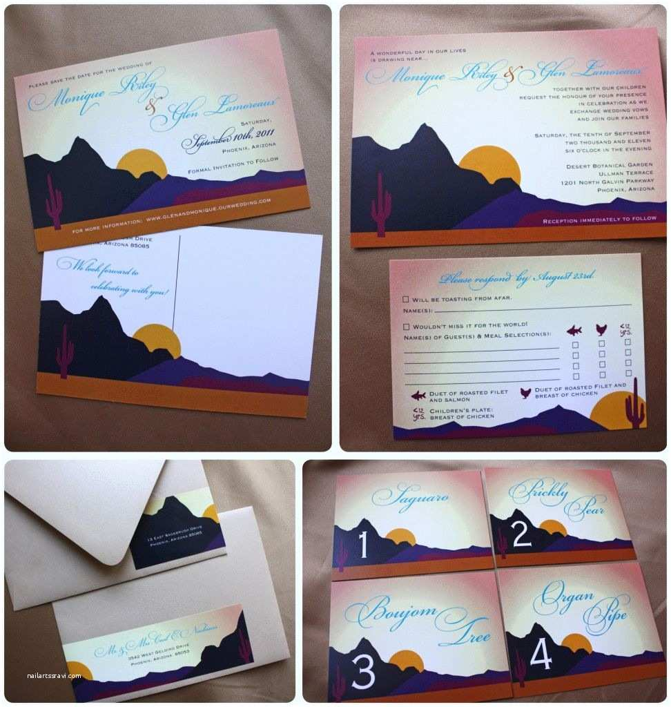 Desert Wedding Invitations Arizona Desert themed Wedding Save the Dates Invitations