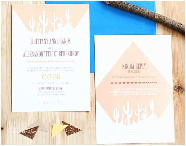 Desert Wedding Invitations Brittany Aleksandr S southwestern Desert Cactus Wedding