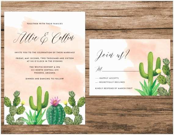 Desert Wedding Invitations Cactus Wedding Invitation Desert Wedding Invitation Cactus