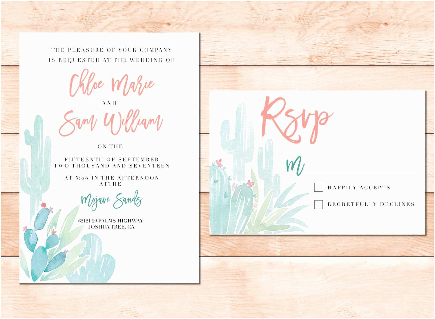 Desert Wedding Invitations Desert Wedding Invitation Set