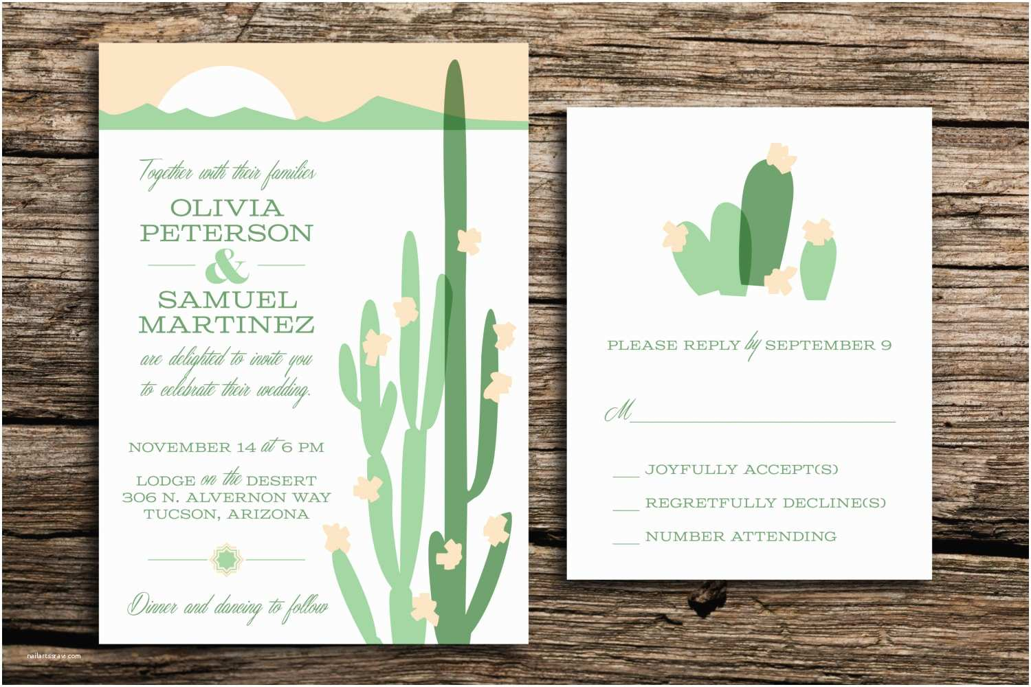 Desert Wedding Invitations Modern Desert Wedding Invitation and Rsvp Set by