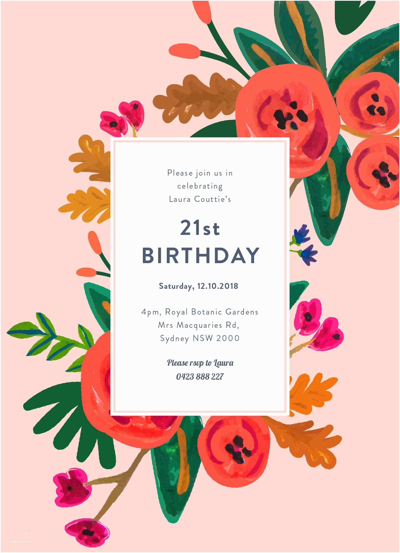 Design Party Invitations Floral Birthday Dp
