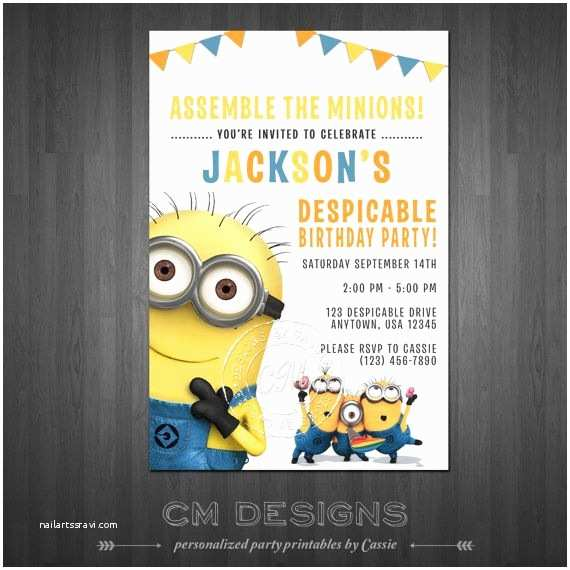 Despicable Me Birthday Invitations 17 Best Images About Greyson S 5th Birthday Party Ideas On