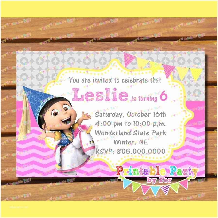 Despicable Me Birthday Invitations Agnes Unicorn Despicable Me Invitation