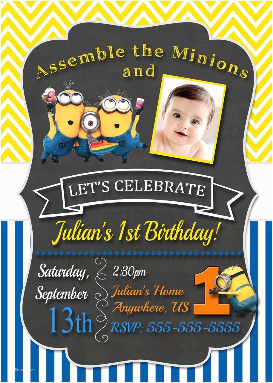 Despicable Me Birthday Invitations Chalkboard Despicable Me Minions Birthday Invitations