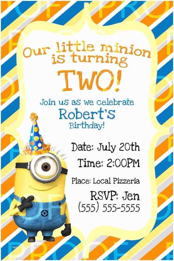 Despicable Me Birthday Invitations Custom Despicable Me 2 Birthday Invitation by