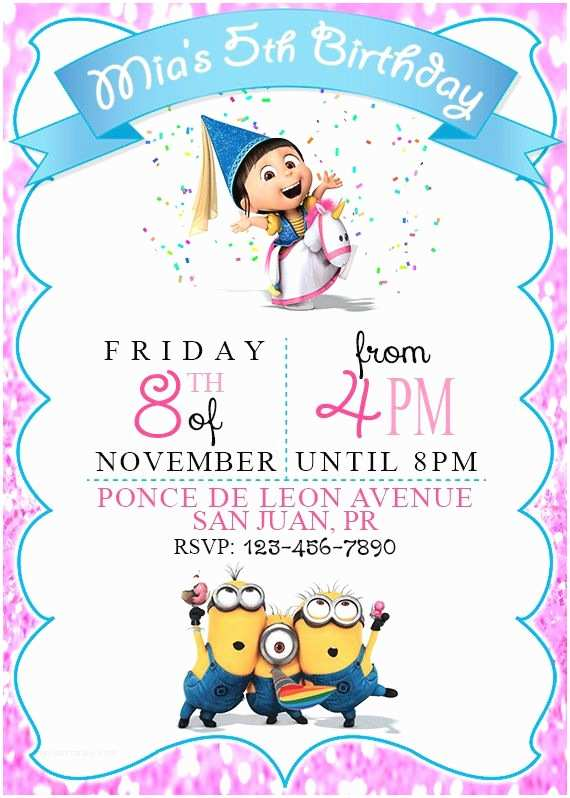 Despicable Me Birthday Invitations Despicable Me Minions Invitation Printable Digital by