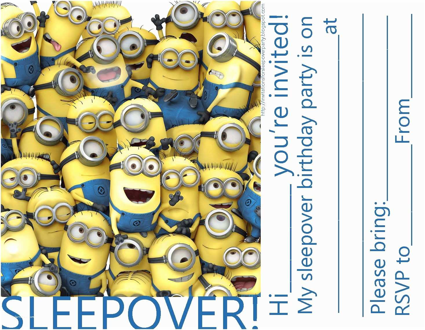 Despicable Me Birthday Invitations Invitations for Sleepover Party Minions Despicable Me