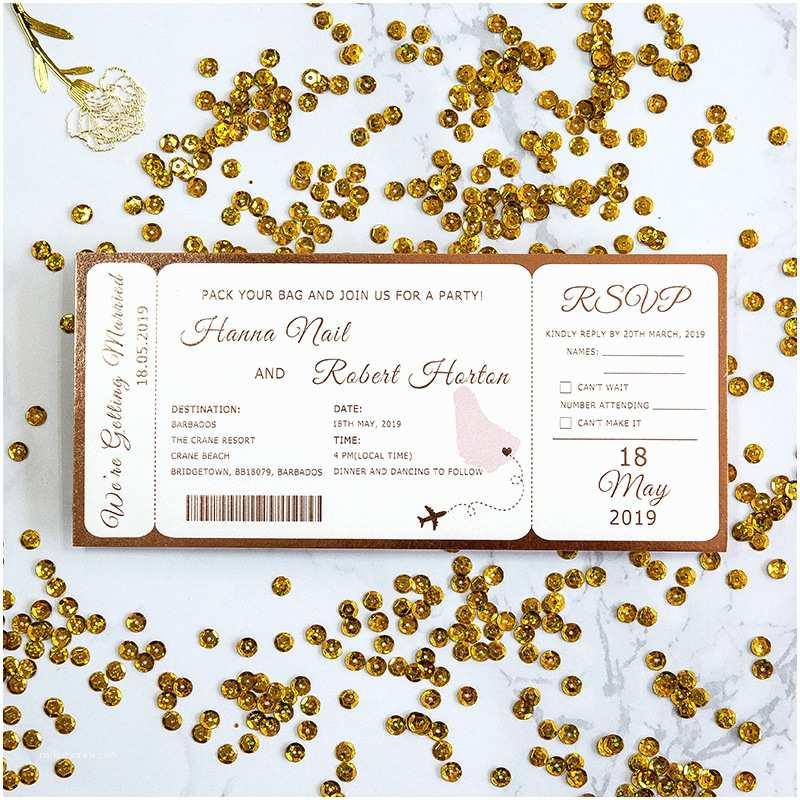Destination Wedding Invitation Etiquette Rose Gold Foil Pressed Destination Airline Ticket Style